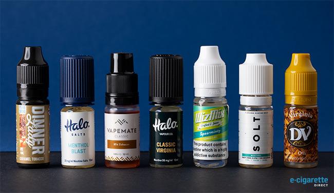 Flacons e-liquides aromatisés tabac et menthol