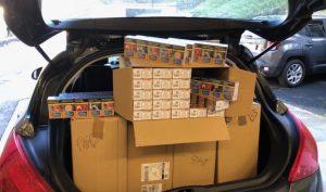 De retour d'Andorre ... avec cinq boîtes remplies de paquets de cigarettes