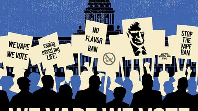 Les vapoteurs de protestation contre l'interdiction des saveurs
